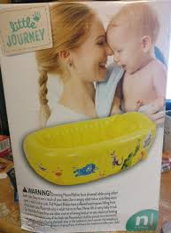 inflatable plastic baby bathtub little journey newborn up to 24 lbs yellow