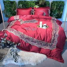 red luxury 4 golden lace 100s tencel silk wedding bedding set queen king size duvet cover bed sheet bed linen pillowcases pink bedding sets brown bedding