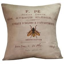 Elliott Heath Designs Spring Pillow Vintage French Bee Postal Document Burlap