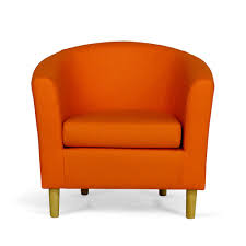 orange faux leather tub chair sloane amp sons
