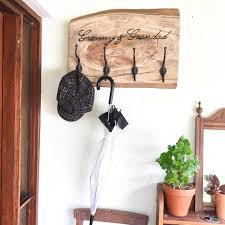 Personalised Coat Rack Coat Rack ideas entryway Personalised Rustic wooden timber live edge 93