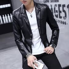 whole quality new pu leather jacket men 2017 slim fit long sleeve mens motorcycle jackets fashion blazer style men s long coats uk 2019 from cutee