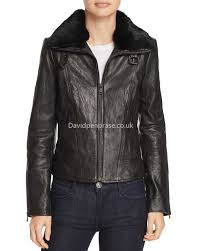 women s leather andrew marc special style cambridge fur trim leather jacket in black ca1309