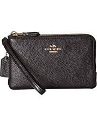 Women s Polished Pebbled Leather Double Corner Zip Bag