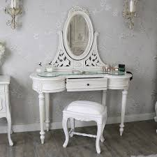 table mirror. antique cream dressing table, mirror and stool set - limoges range table