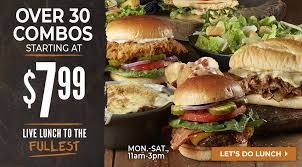 starting at 7 99 longhorn lunch combos are available monday saay from 11am 3pm
