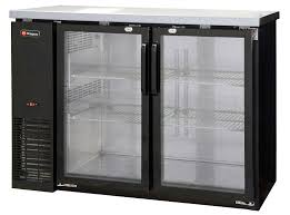 commercial back bar refrigerator with two glass doors