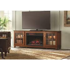 home decorators collection westcliff 66 in lowboy tv stand electric fireplace in chestnut 103126 the home depot