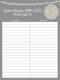 Open House Sign In Open House Sign In Sheet Worksheets Teaching Resources Tpt