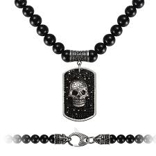 spring westmiajw mens black onyx beaded necklaces with stainless steel skull pendant 24 gift for him 63120