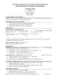 Samples Of Objective For Resume Resume Example For College