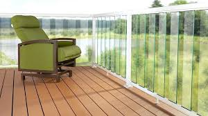 white clear 6 inch glass panel railing new deck system