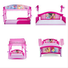 Disney Princess Plastic Toddler Bed With Canopy Guardrails Kids ...