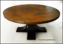 large round copper top dining table oak wood pedestal