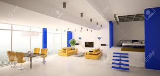 Modern Apartment Living Room Modern Apartment Living Room And Bedroom Panorama 3d Stock Photo
