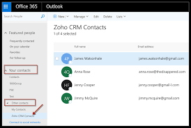 contacts synchronization between office 365 and zoho crm will now be enabled you will see a zoho crm contacts folder in your office 365 account
