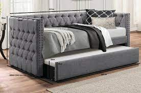 silver fabric lucia day bed and trundle