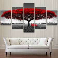 home decor hd printed wall art pictures 5 piece red tree art scenery landscape canvas painting