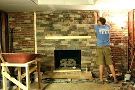 installing stone veneer over brick resurface brick fireplace with stone amazing popular neutral install stone veneer