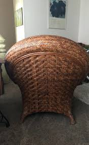 Pottery Barn Malabar Chair Rattan And Ottoman For Sale  In Springs Co N19