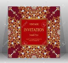 Invitation Card Sample Wedding Invitation Card Templates With Gold Patterned And Crystals