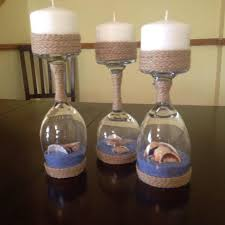 aquatic theme jute decorated candle holders for eve