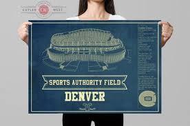 Sports Authority Field Mile High Stadium Seating Chart Mile High Stadium Denver Broncos Vintage Blueprint Wall Art