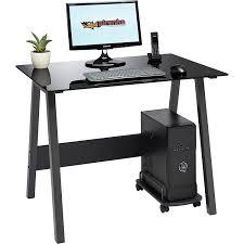 glass desk for office. genuine piranha barbel compact toughened black glass computer desk home office furniture pc 7bg amazoncouk kitchen u0026 for s