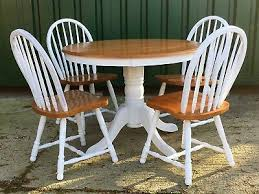 shabby chic painted round pine dining table and 4 chairs