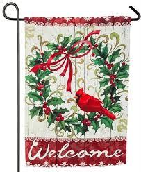 christmas garden flags. Interesting Garden Christmas Cardinal Wreath Suede Reflections Garden Flag On Flags