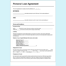 Personal Loan Agreement Pdf Template Business