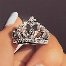 <b>Romantic Princess</b> Crown Heart <b>Bridal Wedding</b> Ring 925 Silver ...
