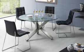 Modern Glass Kitchen Table Table Round Glass Dining With Metal Bases