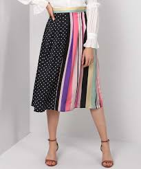 Trendyol Size Chart Trendyol Polka Print Striped Women A Line Multicolor Skirt