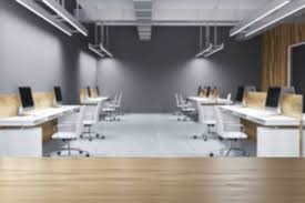 3D Office Design Custom Wooden And Gray Wall Open Space Office Interior With A Concrete