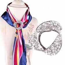 details about women crystal pearl silk scarf ring clip buckle shiny brooch scarf jewellery uk