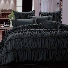 black ruched duvet cover with nightstand and white wall for bedroom decoration ideas