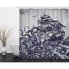 artistic shower curtains. Ambesonne Kraken Shower Curtain Sail Boat Waves And Octopus Old Look Home Textile European Style Bathroom Decoration Decor Peculiar Design Hand Drawing Artistic Curtains T