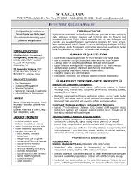 Business Analyst Sample Resume Finance Resume Template For