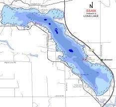 Long Lake Floodings Map Alpena County Michigan Fishing