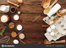 Ood Flat Lay Kitchen Table Background Butter Milk Yeast Flour
