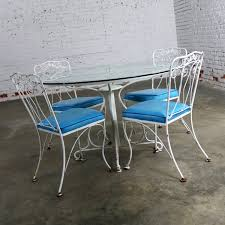 salterini outdoor furniture. Salterini Style Wrought Iron Patio Set Round Table And Four Chairs With  Turquoise Vinyl Seats Salterini Outdoor Furniture I