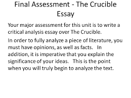 in the beginning i background and procedure ii colonial  final assessment the crucible essay