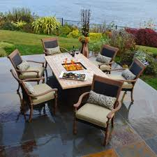 patio table and 6 chairs: outdoor dining table fire pit with patio furniture set and rectangle patio table