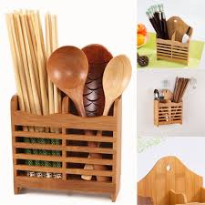wood storage holder wall hanging kitchen spoon tableware cutlery drying rack