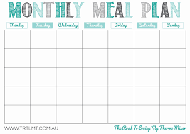 Meal Planning Spreadsheet Excel Free Printable Meal Planner Template Monthly Menu Weekly