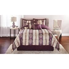 mainstays adelaide 7 piece damask embroidered bedding comforter set plum com