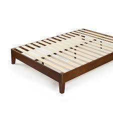 antique espresso deluxe solid wood platform bed  zinus