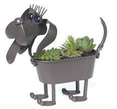 Mini Weiner Dog Metal Planter