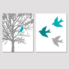 Teal And Gray Bedroom Teal Gray Wall Art Tree Moon Bedroom Decor Matted Picture Eur17
